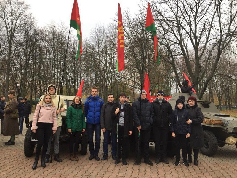 Студенты и сотрудники ГГТУ имени П.О.Сухого приняли участие в торжественном митинге к 100-летию Октябрьской революции