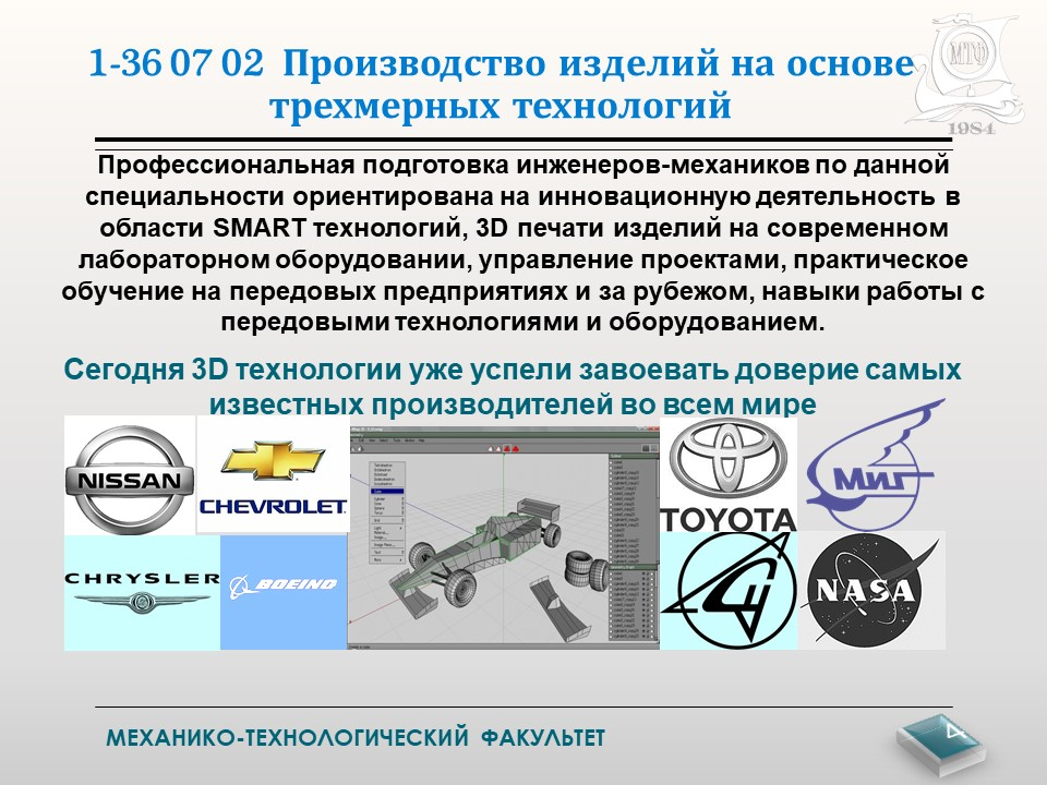 """Инженер - профессия будущего! Специальность """"Производство изделий на основе трехмерных технологий"""" 4"""